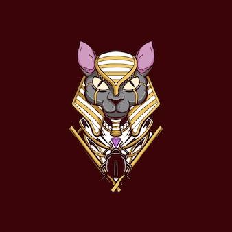 Anubi testa dio illustrazione design t-shirt egitto