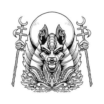 Illustrazione dell'ornamento della testa di anubis