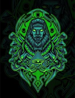 Anubis creatura mitologica illustrazione disegno vettoriale