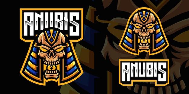 Modello di logo della mascotte del gioco del teschio di anubis per lo streamer di esports facebook youtube