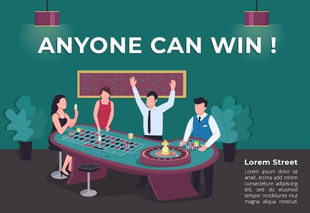 Chiunque può vincere un poster modello piatto. l'uomo vince alla ruota della roulette che gira. intrattenimento premium. brochure, booklet one page concept design con personaggi dei cartoni animati. volantino del casinò, volantino