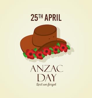 Il giorno di anzac, per non dimenticare la decorazione di 25 aprile cappello e fiori