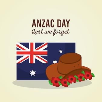 Il giorno di anzac non dimentichiamo il simbolo dei fiori del cappello della bandiera australiana