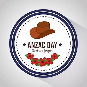 Anzac day per non dimenticare il badge con cappello e fiori design