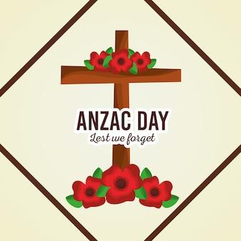 Il giorno di anzac, per non dimenticare il poster floreale con decorazione a croce