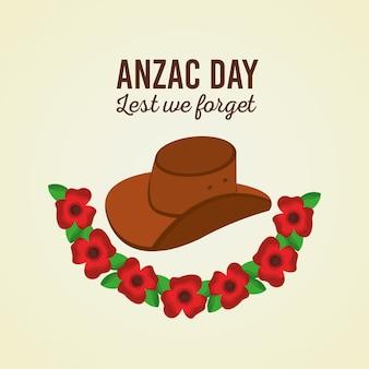 Anzac giorno per non dimenticare cappello e fiori poster