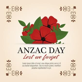 Manifesto del giorno di anzac con il fiore rosso del papavero