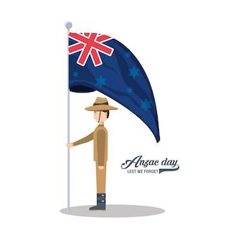 Soldato di anzac che tiene una nuova bandiera della zelandia