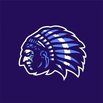Logo di mascot sport indiano apache