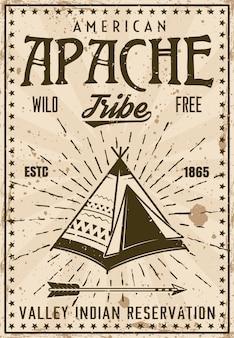 Modello di poster vintage prenotazione tribù indiana apache