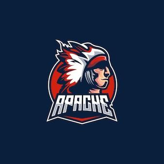 Tribù del logo apache tribale indiano