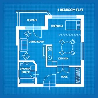 Pianta dell'appartamento blueprint vista dall'alto