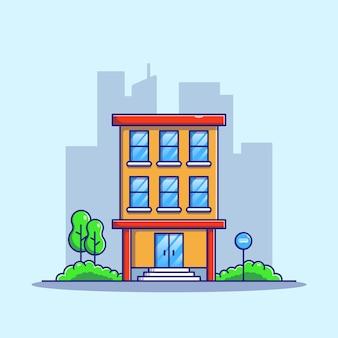 Appartamento di fronte alla strada con fermata dell'autobus in affitto e vendita con sfondo del paesaggio della città