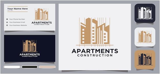 Logo del gruppo di costruzione di appartamenti e hotel logo di un edificio di lusso moderno e unico con oro
