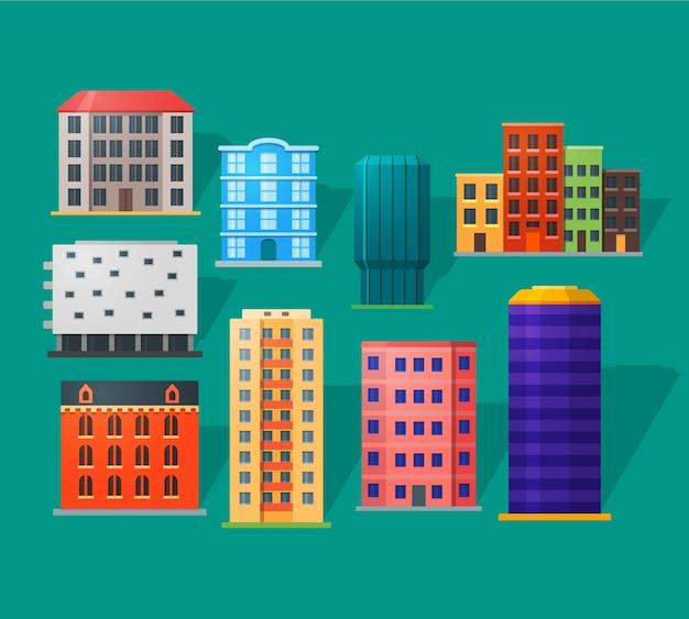 Icone delle case di appartamenti messe nello stile piano dettagliato. appartamenti moderni e antichi. per la costruzione di città.