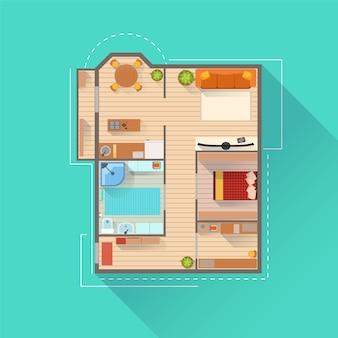 Vista di progetto di interior design dell'appartamento da sopra