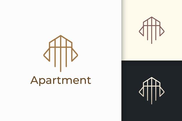 Logo di appartamento o proprietà in linea semplice per attività immobiliari