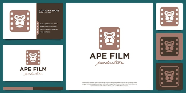 Logo moderno hipster di produzione cinematografica del viso di scimmia