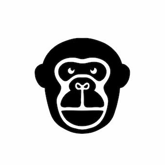 Ape head logo tattoo design stencil vector illustration