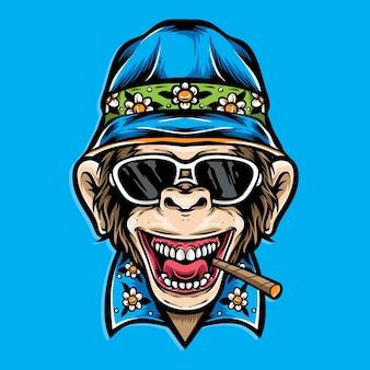 Scimmia indossando abiti estivi isolati sull'azzurro