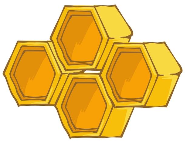 Apiario e industria e commercio agricolo, produzione domestica. favi esagonali isolati per api, prodotto biologico. cella di alveare mostrata in 3d o vista laterale. vettore in stile piatto illustrazione