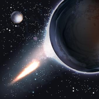 Sfondo apocalittico di attacco del pianeta asteroide impatto fine del giorno del giudizio mondiale