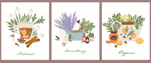 Set di poster di farmacista di benessere naturale, organico, aromaterapia, oli essenziali, incenso, tisane, candele, fiori di campo ed erbe aromatiche