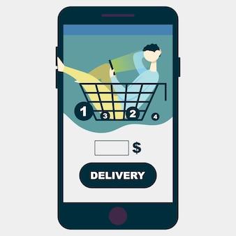Il ragazzo delle consegne delle app si siede nel cestino e sceglie cosa ordinare al telefonoconcept shopping online Vettore Premium