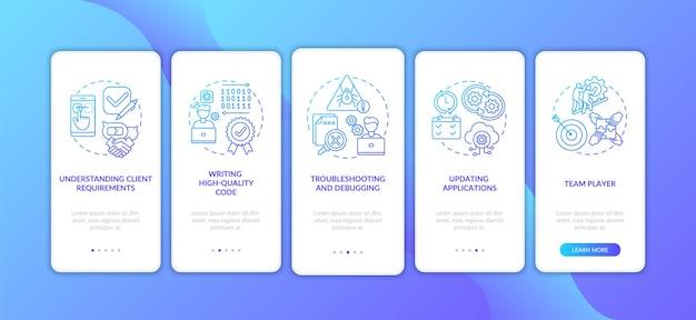 Competenze dello sviluppatore di app durante l'imbarco sulla schermata della pagina dell'app mobile con concetti.