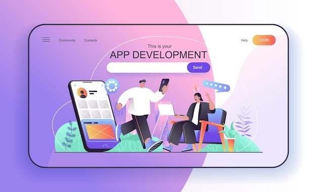 Concetto di sviluppo di app per gli sviluppatori di landing page che creano e ottimizzano applicazioni mobili