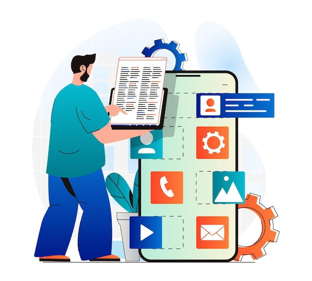 Concetto di sviluppo di app in un moderno design piatto codice del programma di codifica del programmatore
