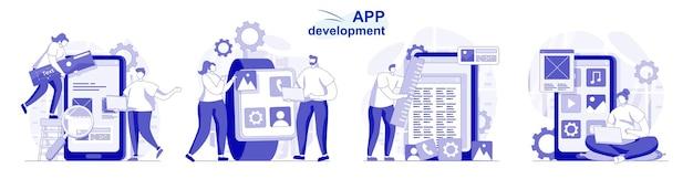 Set di sviluppo di app isolato in design piatto le persone programmano e sviluppano software per telefoni cellulari