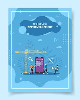Il programmatore di persone per lo sviluppo di app crea applicazioni mobili su smartphone