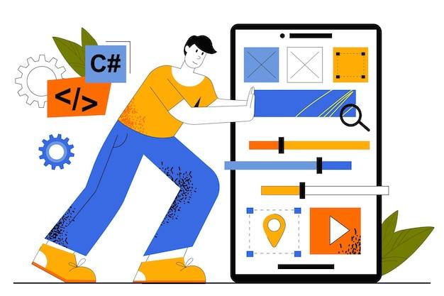 Concetto web di sviluppo di app. lo sviluppatore crea l'interfaccia dell'app mobile, posiziona i pulsanti, gli elementi di navigazione. il programmatore sviluppa software.