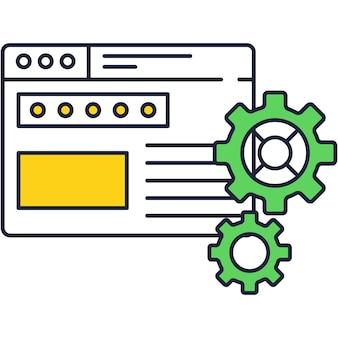 Vettore dell'icona della funzione di impostazione dell'app o del programma