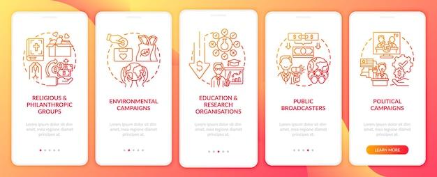 Appello per i tipi di fondi nella schermata della pagina dell'app mobile a bordo