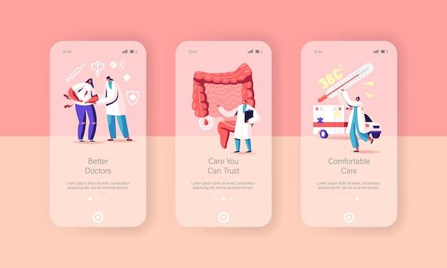 Set di modelli di schermata della pagina dell'app mobile di appendicite, dolore, appendicite