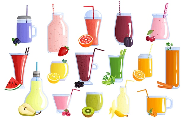 Raccolta di icone di frullati di frutta colorati sani appetitosi con banana anguria arancia mirtillo kiwi e limone isolato icone illustrazione