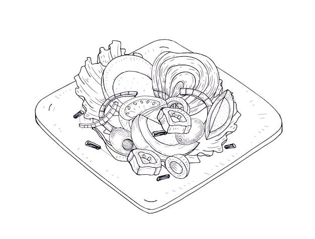 Insalata appetitosa con verdure e pesce su piatto disegnato a mano con linee di contorno su bianco