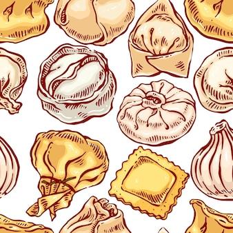 Appetitoso senza soluzione di continuità con una varietà di gnocchi. illustrazione disegnata a mano