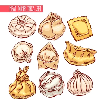 Insieme appetitoso di gnocchi diversi. illustrazione disegnata a mano