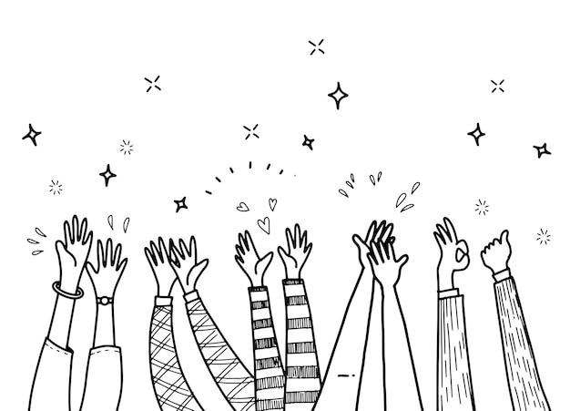 Applauso disegno a mano, mani che applaudono ovazione. illustrazione di stile di doodle