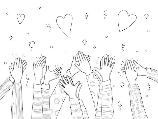 Mani da applauso. folla di persone consegnato applausi divertente disegno vettoriale scarabocchi raccolta. illustrazione folla pubblico, persone applausi