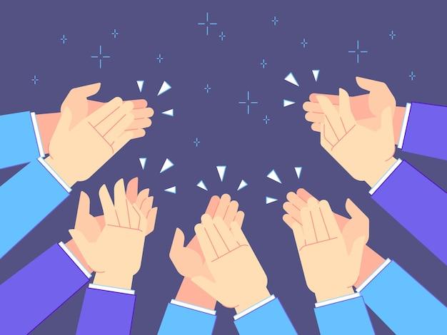 Mani applausi. battiti di mani, congratulazioni applaudenti e illustrazione d'applauso di successo