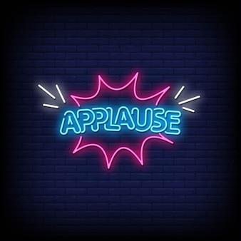 Applausi insegne al neon in stile testo vettore