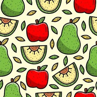 Carta da parati senza cuciture di progettazione del modello di scarabocchio del fumetto dell'avocado e della mela