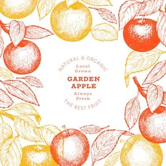 Progettazione di rami di mele. illustrazione disegnata a mano della frutta del giardino.