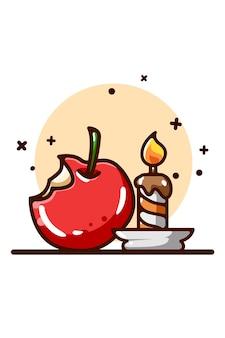 Illustrazione di mela e candela