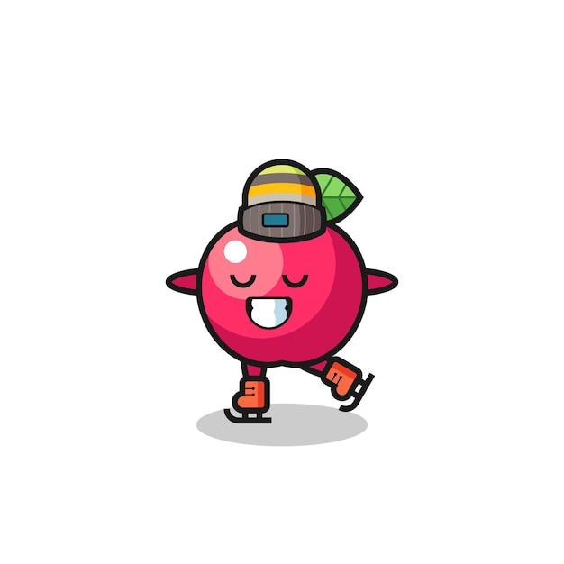 Cartone animato apple come un giocatore di pattinaggio sul ghiaccio che si esibisce, design in stile carino per maglietta, adesivo, elemento logo