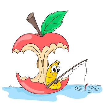 Un bruco di mele sta pescando. emoticon adesivo illustrazione dei cartoni animati